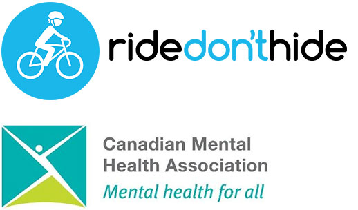 Ride Dont Hide logo and CMHA logo
